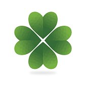 Low Poly Green Four Leaf Clover White Background