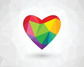 Low poly heart in rainbow color