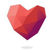 Low poly vector illustration of a heart shape ready to be used in any design project related to Valentine's Day or others.