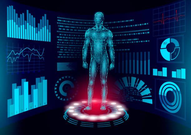 3d 低聚人體 hud 顯示醫生線上。未來技術醫學實驗室網路檢查。血液系統疾病診斷未來主義 ui 向量例證 - 健康科技 幅插畫檔、美工圖案、卡通及圖標