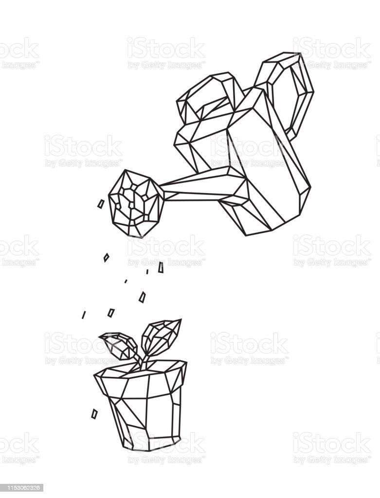 Arrosage Pour Plantes En Pot faible poly illustration dun arrosage peut arroser une
