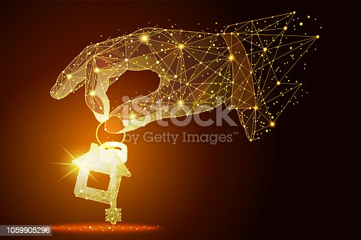 Low poly illustration of the hand with keys from the house a golden dust effect. Polygonal wireframe from dots and lines, abstract design. Digital graphics vector illustration. For Poster, Cover, Label, Sticker, Business Card