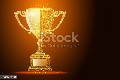 Low poly illustration of the winner cup a golden dust effect. Polygonal wireframe from dots and lines, abstract design. Digital graphics vector illustration. For Poster, Cover, Label, Sticker, Business Card