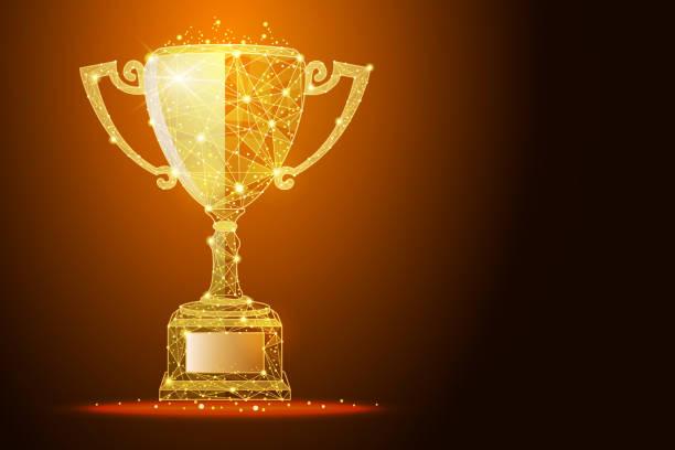 ilustrações, clipart, desenhos animados e ícones de ilustração de baixo poli da copa vencedor um efeito de pó dourado, com espaço para seu texto - troféu