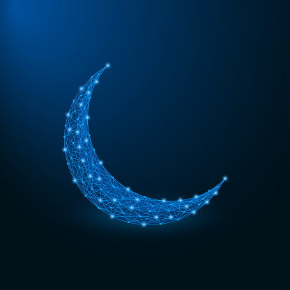 Low poly islamic crescent for Ramadan Kareem. Polygonal wireframe mesh at blue background.