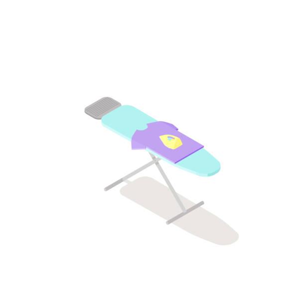low-poly isometrische bügelbrett - schrankkorb stock-grafiken, -clipart, -cartoons und -symbole