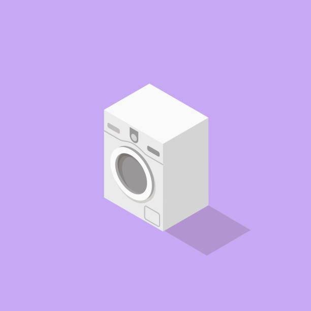 low-poly isometrische waschmaschine - waschmaschine stock-grafiken, -clipart, -cartoons und -symbole
