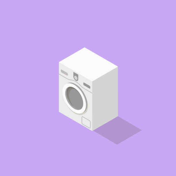 low poly isometric washer - washing machine stock illustrations, clip art, cartoons, & icons