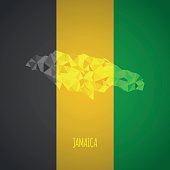 Low Poly Jamaica Map with National Colors