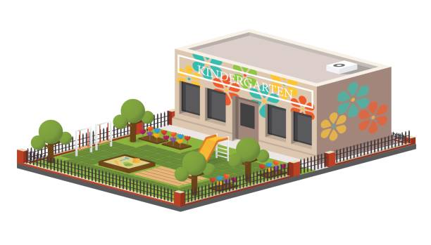 Low poly kindergarten building. Low poly kindergarten building. Vector isometric preschool, kids playground garden center stock illustrations