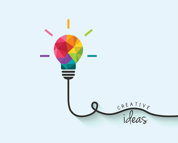 Low poly lightbulb as creativity and idea concept Colorful polygon, geometric lightbulb design with wire as creative thinking and idea concept. creative occupation stock illustrations