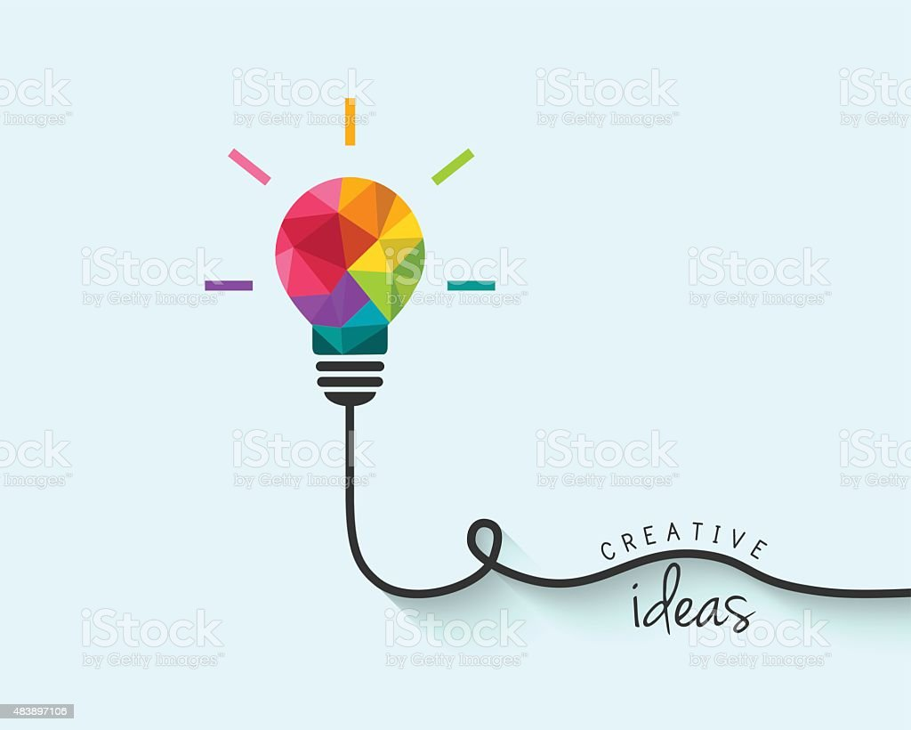Low poly lightbulb as creativity and idea concept vector art illustration