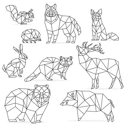 Low poly line animals set. Origami poligonal  . Wolf bear deer