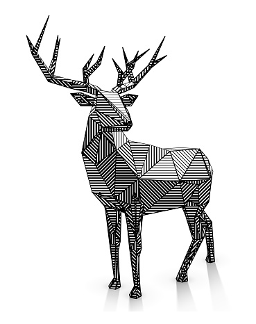 Low poly line-art stag illustration.