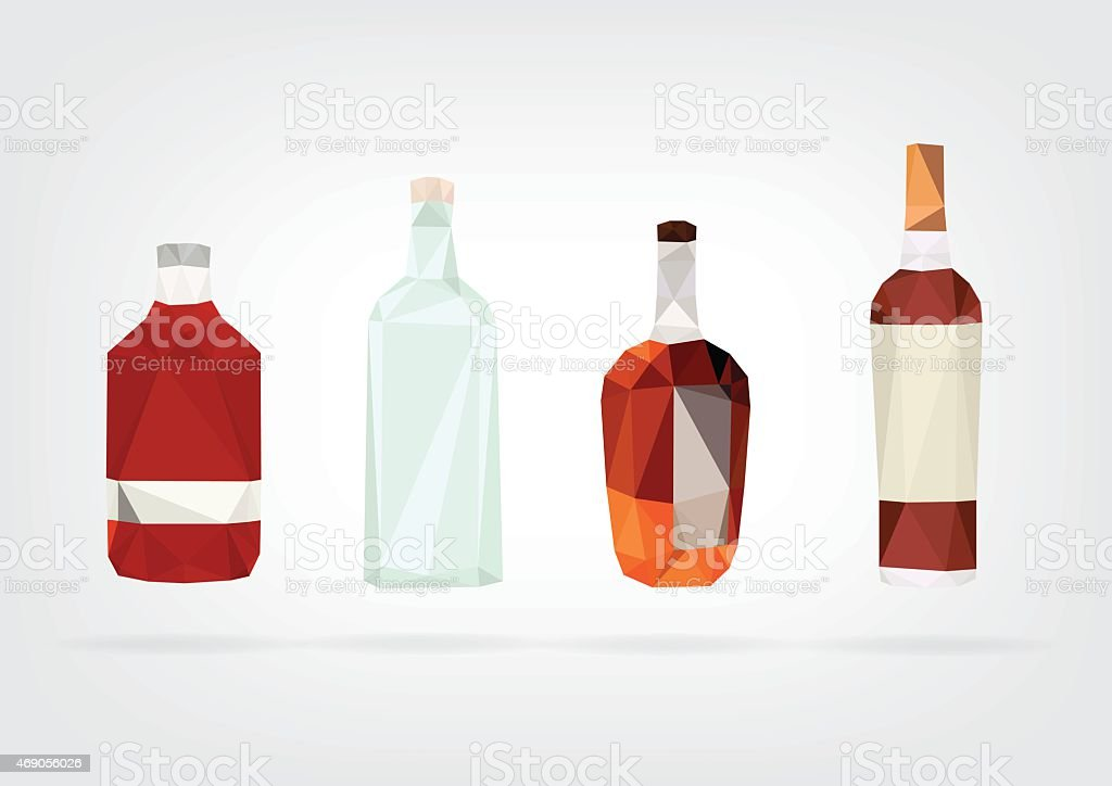 Low Poly Liquor Bottles vector art illustration