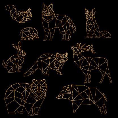 Low poly luxury golden line animals set. Origami poligonal gold line animals. Wolf bear, deer, wild boar, fox, raccoon, rabbit and hedgehog on black background.