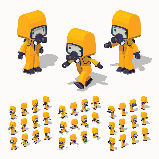 low poly man in the protective suit - cartoon of a hazmat suit stock illustrations, clip art, cartoons, & icons