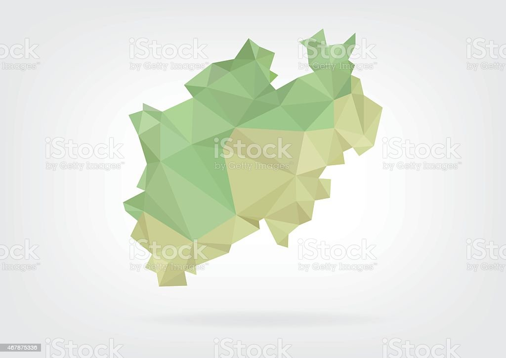 Low Poly map of german region Nordrhein Westfalen vector art illustration