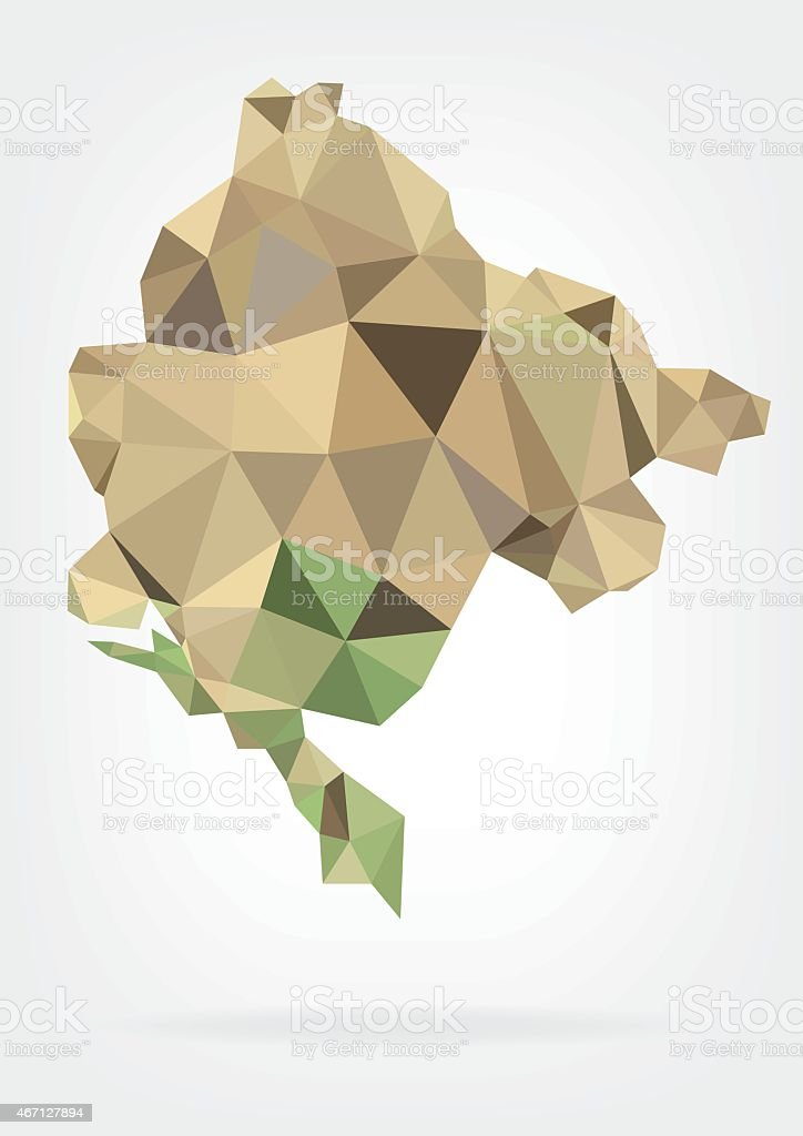 Low Poly Map of Montenegro vector art illustration
