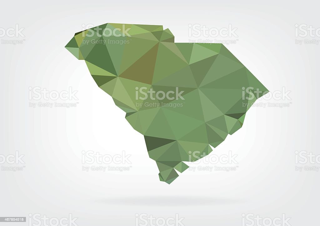 Low Poly map of South Carolina state vector art illustration