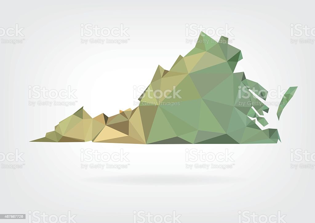 Low Poly Map Of Virginia State Stock Vector Art More Images Of