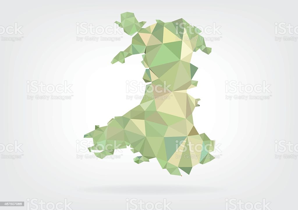Low Poly map of Wales vector art illustration