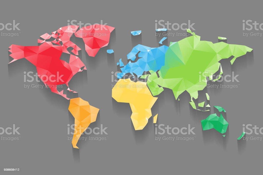 Carte De Basse Poly Du Monde Divisé En Six Continents Par