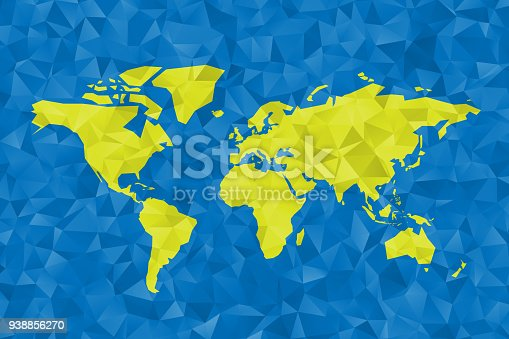 Low poly map of World. Polygonal vector design in green and blue.