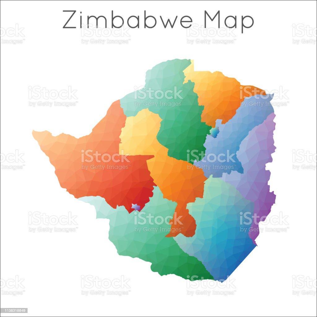 Low Poly Map Of Zimbabwe Stock Vr Art und mehr Bilder von ... Zimbabwe On Map on