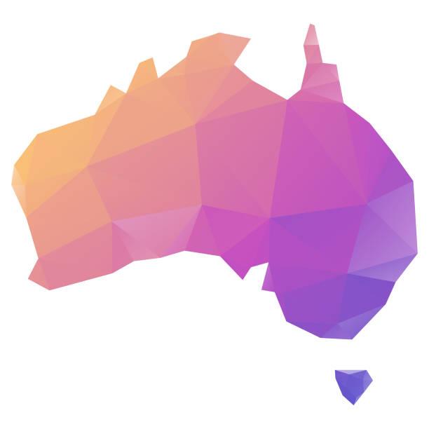 low poly modeling map of australia - western australia stock illustrations