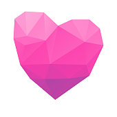 Vector illustration of a low poly modelling heart shape