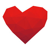 Vector illustration of a low poly modelling heart shape for valentine's day designs and other kinds of banners and design projects