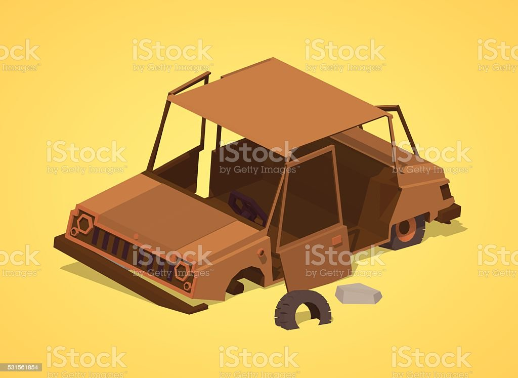 Low poly old rusty car vector art illustration