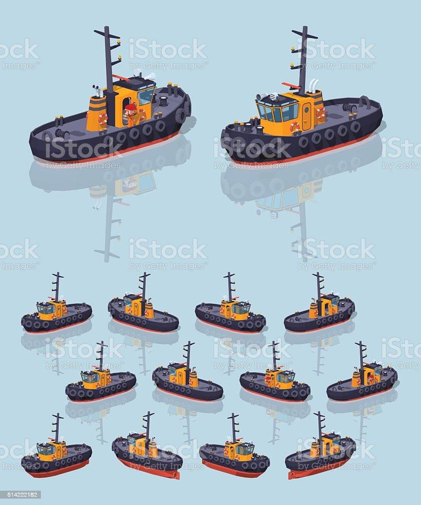 Low poly orange and black tugboat vector art illustration