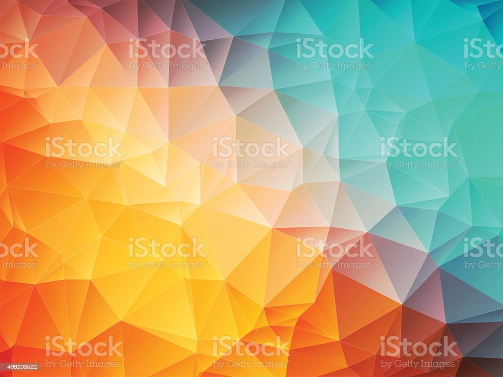 low poly orange blue background vector art illustration