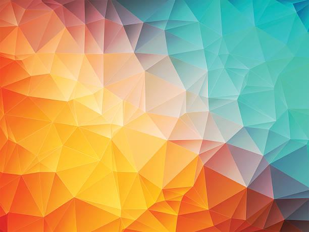 low poly orange blue background vector art illustration