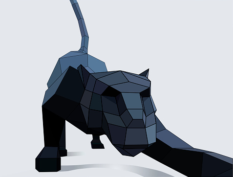 low poly panthers in perspective