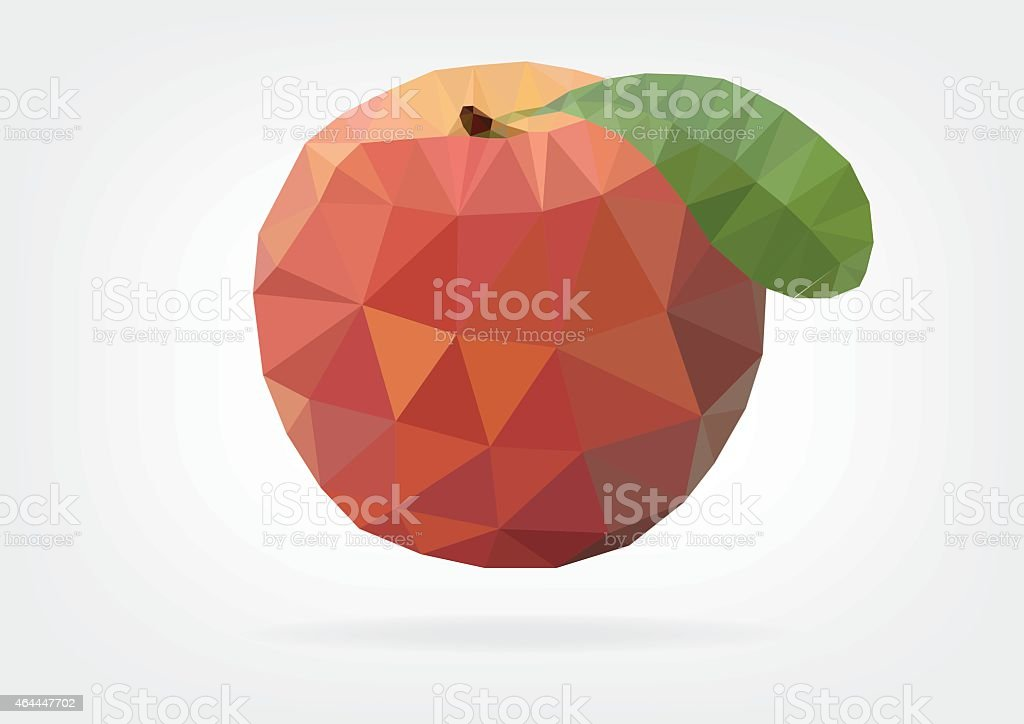 Low Poly Peach fruit vector art illustration