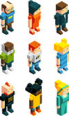 3D low poly peoples. Isometric user icons set characters young, polygonal woman and man, vector illustration