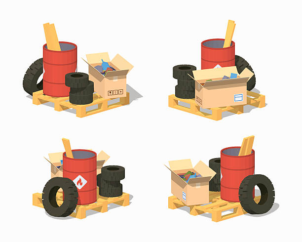 Low poly pile of trash Pile of trash. 3D lowpoly isometric vector illustration. The set of objects isolated against the white background and shown from different sides obsolete stock illustrations