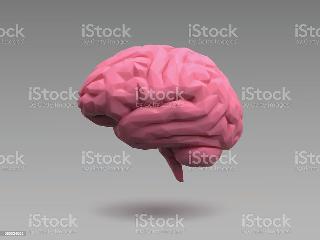 Low poly pink brain on natural lighting look vector art illustration