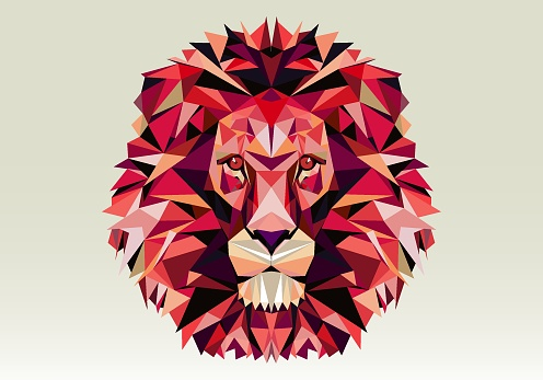 Low poly pink lion head
