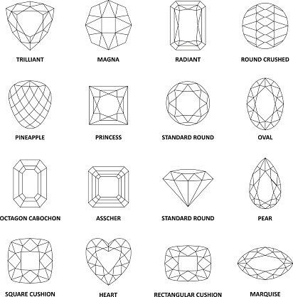 Low poly popular black outlined gems cuts