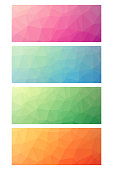 Low poly rectangle set as banner and design element
