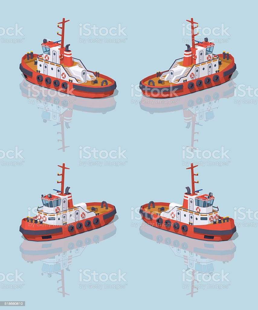 Low poly red and white tugboat vector art illustration