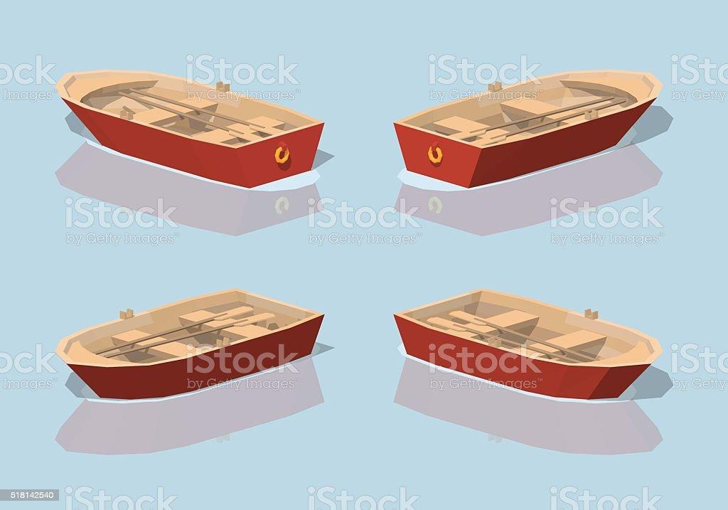 Faible poly rouge pari bateau - Illustration vectorielle