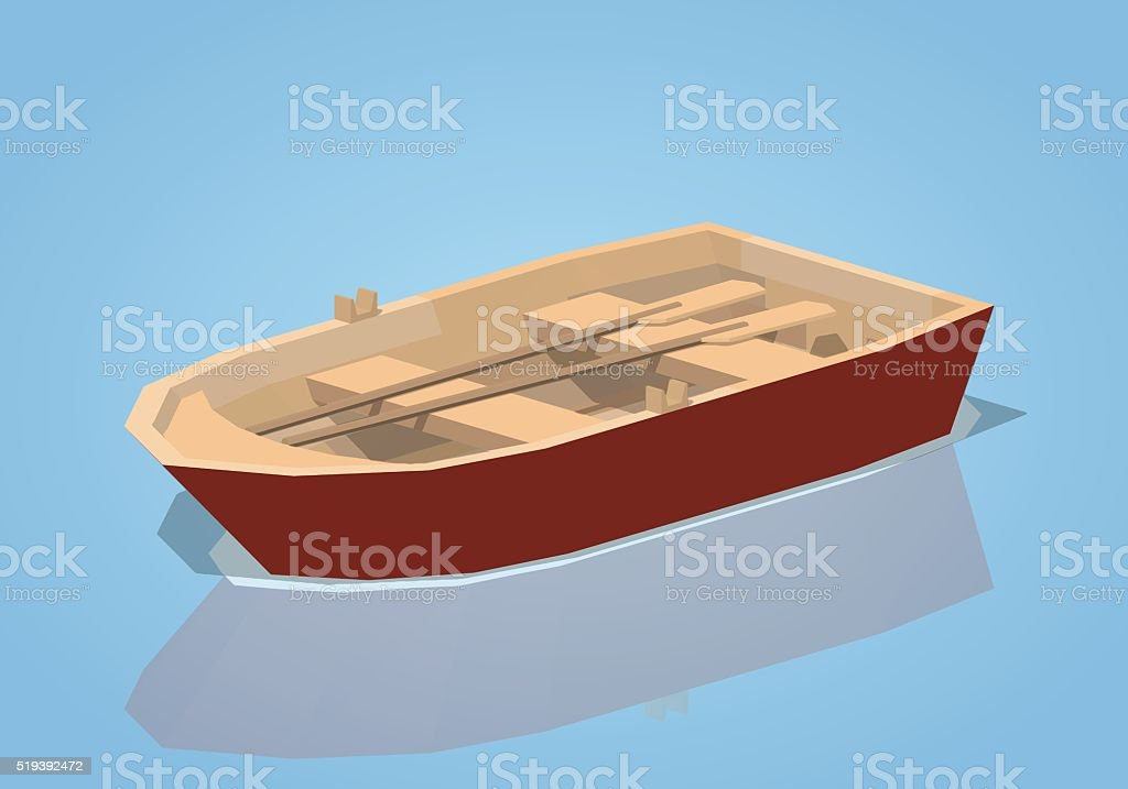 Low poly red punt boat vector art illustration