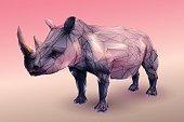 Modern style low poly rhinoceros on peach tone background