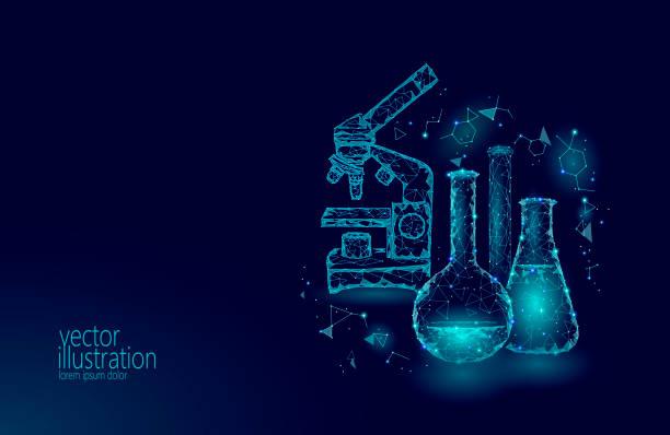 Chemische glazen flessen van de wetenschap van de lage poly. Magische apparatuur Microscoop zoomlens veelhoekige blauwe driehoek gloeiende onderzoek toekomstige technologie bedrijf geneeskunde concept vectorillustratievectorkunst illustratie
