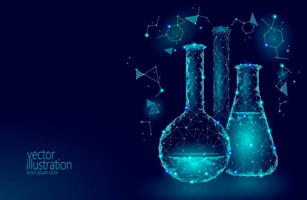 Chemische glazen flessen van de wetenschap van de lage poly. Magische apparatuur veelhoekige blauwe driehoek gloeiende onderzoek toekomstige technologie bedrijf geneeskunde concept vectorillustratievectorkunst illustratie